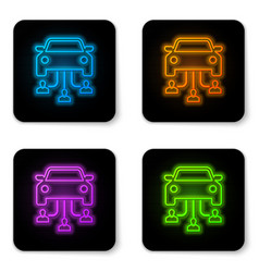 glowing neon car sharing with group people vector image