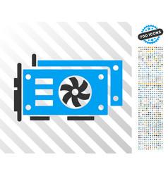 gpu video cards flat icon with bonus vector image