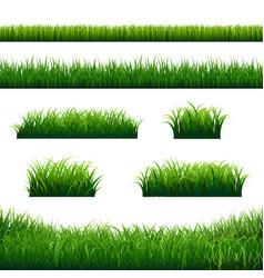 Green grass borders big set vector