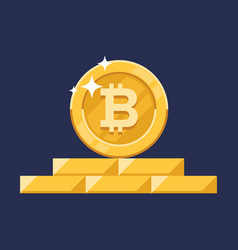 Growth bitcoin on a bitcoin digital money vector