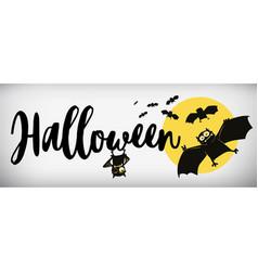 Happy halloween banner comical bat vector