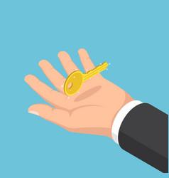 Isometric businessman hand holding golden key vector