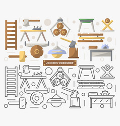 Joinery workshop furniture set in flat style vector
