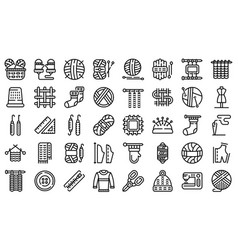 Knitting icons set outline style vector