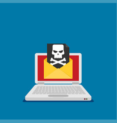 Laptop and envelope with black document and skull vector