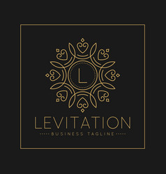 Letter l logo with classic and luxurious line art vector