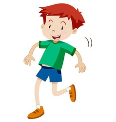 Little boy hopping alone vector image