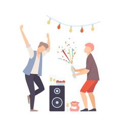 Men on party dancing and exploding firecracker vector