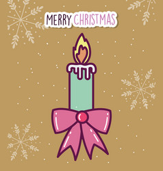 merry christmas celebration candle flame gift bow vector image