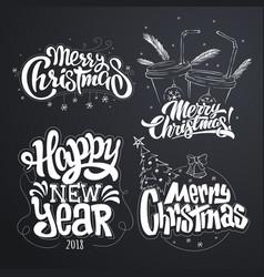 merry christmas happy new year handwritten vector image