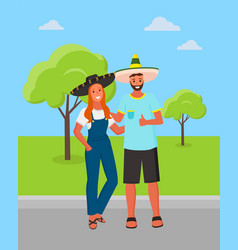 mexican man and woman wearing sombrero hat in park vector image