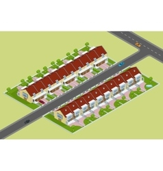 Modern townhouse flat 3d isometric vector image