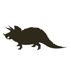 monochrome silhouette with dinosaur triceratops vector image