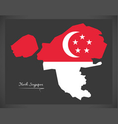North singapore map with national flag vector