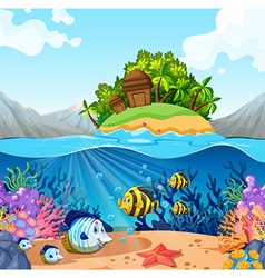 Ocean view with island and fish underwater vector image
