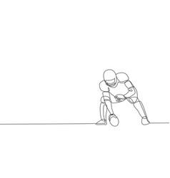 One single line drawing energetic american vector