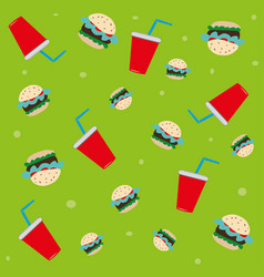 pattern soda glasses and burgers vector image