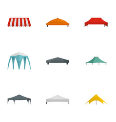 pavilion tent icon set flat style vector image