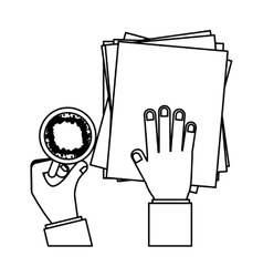 Person hands with papers and cup coffee vector