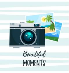 photo camera with holiday photos vector image