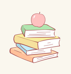 pile stack books apple hand drawn style vector image