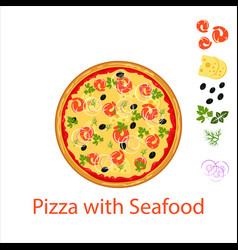 pizza with seafood flat icon isolated on white vector image
