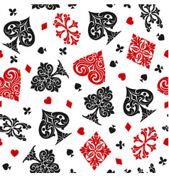 playing cards vintage seamless pattern vector image