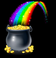 Pot of gold and rainbow vector