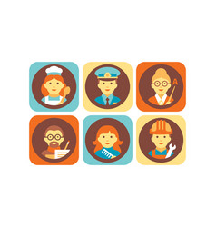 profession icons set chef cook policeman vector image