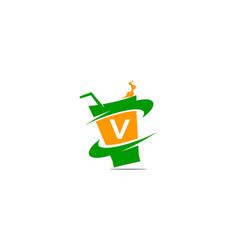 restaurant drink initial v vector image