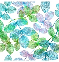 Seamless pattern with green sceleton leaves vector image