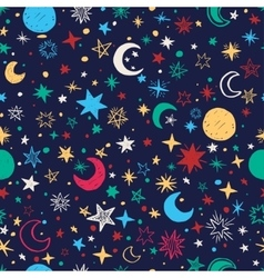 Seamless pattern with handdrawn stars and moons vector image