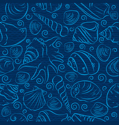 Seamless patterns with summer symbols shellfish vector