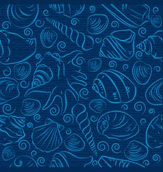 seamless patterns with summer symbols shellfish vector image