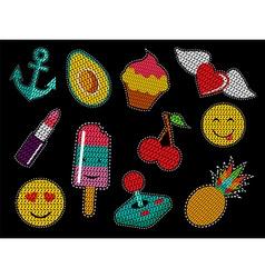Set of cute sequin pop art retro patch icons vector
