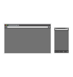 set of dark browser interface on laptop and phone vector image