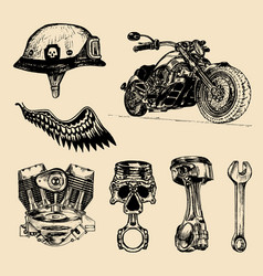 set vintage bikers elements hand vector image