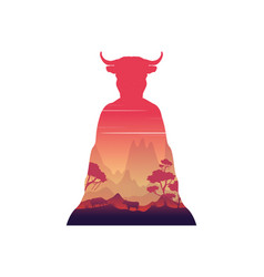 Silhouette of inside cow at sunset landscape vector