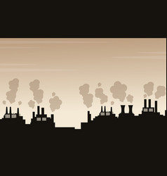 silhouette of pollution industry bad environment vector image