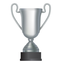 silver winner cup second place on white background vector image vector image