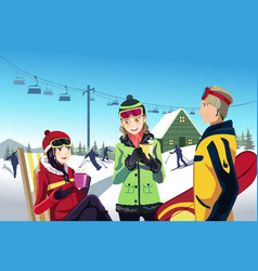 skiing friends vector image