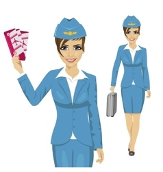 stewardess dressed in blue uniform vector image