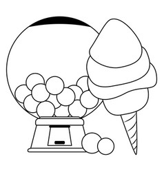 Sugar cotton and gums dispenser in black and white vector
