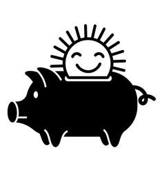Sun piggybank icon simple style vector