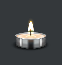 tealight burning realistic candle vector image