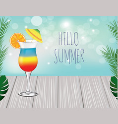 text hello summer cocktail on wooden planks vector image