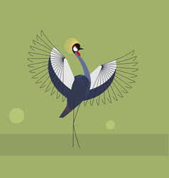 The mating display of the crowned crane vector