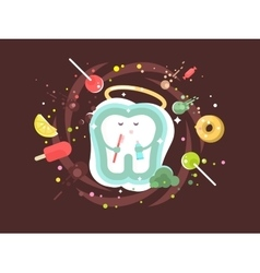 Tooth abstract design flat vector