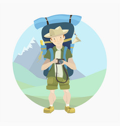 tourist man with a big backpack vector image