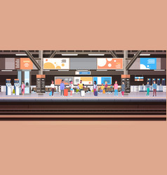 Train station with people waiting on platform vector